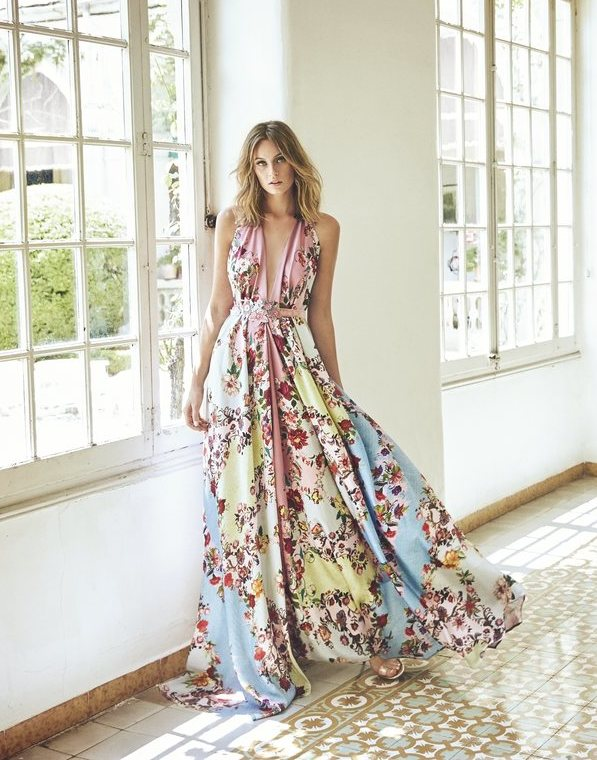 662f906671f2 Long floral print dress in some colors – Summer 2019