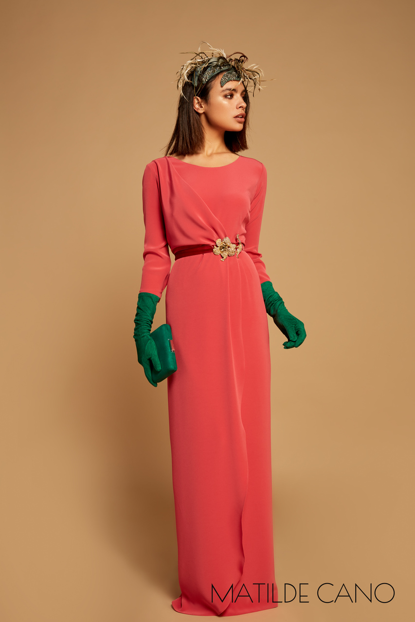 d925b3046a5 Dress of the Classic collection. Model in coral color with jewel ...
