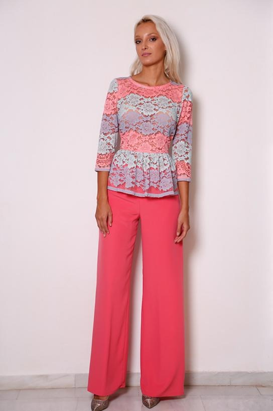 d6d77f0476a Outfit of lace shirt and pants in salmon tone