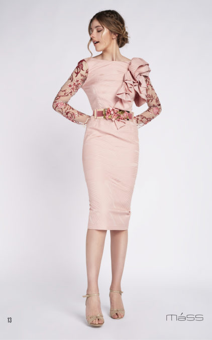 eec68fa257b Pink straight dress with embroidered tull sleeves and matching floral belt  – Summer 2019